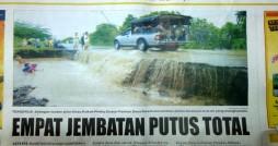 Empat Jembatan Putus Total (Dikutip dari Radar Lombok 16 Maret 2012 )