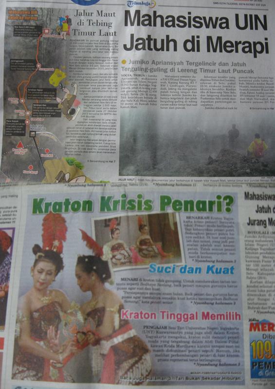 Dikutip dari media koran Tribun Jogja dan Koran Merapi