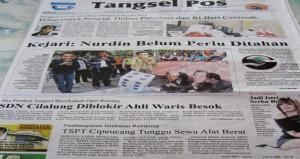 Headline Tangsel Pos 20 Juni 2012. Courtesy: Harian Tangsel Pos