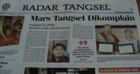 Mars Tangsel DIkomplain. Courtesy: Harian Tangerang Ekspres