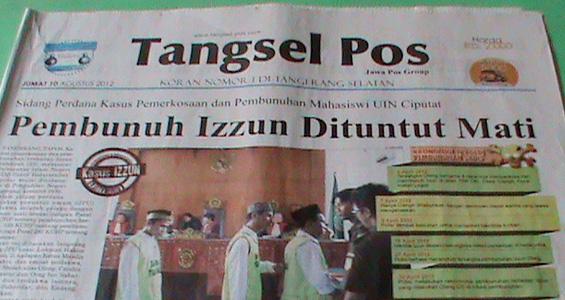 Headline Harian Tangsel Pos 10 Agustus 2012